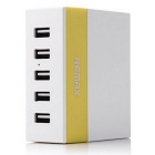 REMAX 1A / 2.1A / 2.4A 5 Ports USB Charger  - White + Yellow (EU Plug)