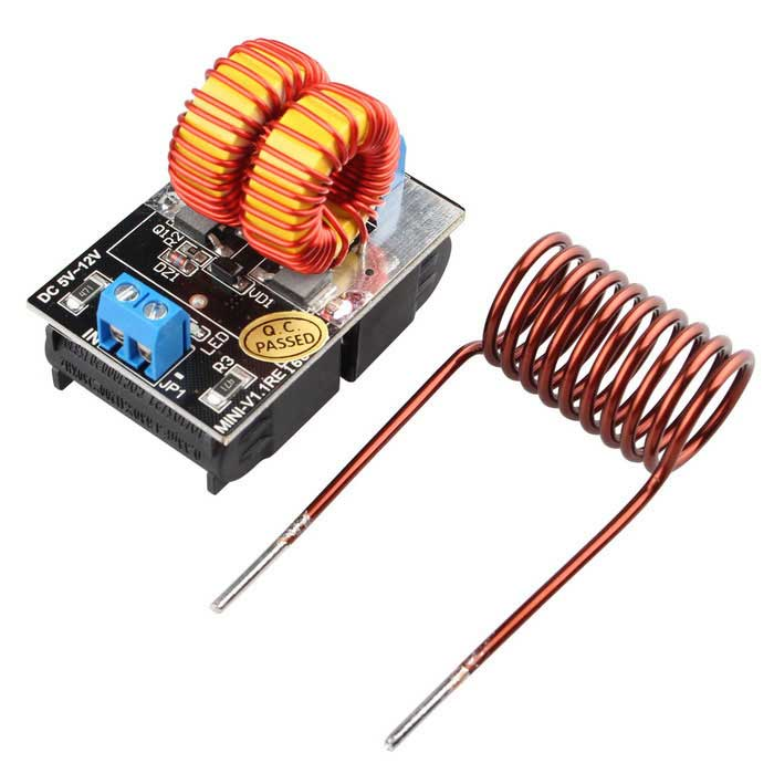 5~12V ZVS Induction Heating Power Supply Tesla Driver Board ModulePower Module<br>Form  ColorBlack + MulticolorModelN/AQuantity1 DX.PCM.Model.AttributeModel.UnitMaterialFR4Input Voltage5~12 DX.PCM.Model.AttributeModel.UnitMax. Output Power120 DX.PCM.Model.AttributeModel.UnitDownload Link   NoPacking List1 * Power Supply Module1 * Heating coil<br>