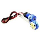 Motorbike USB Cigar Lighter Cellphone Charger w/ Clock - Sapphire Blue