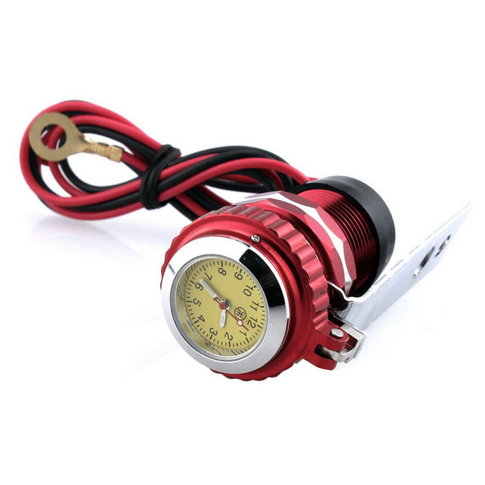 Motorbike USB Cigar Lighter Cellphone Charger with Clock - Red