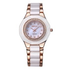WeiQin 392502 Bezel Dial Quartz Analog Wrist Watch - Rose + White