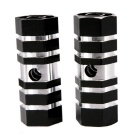 Mountain Bike Hexagonal Foot Cone Pedals - Black + Silver (Pair)