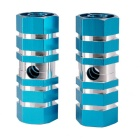 Mountain Bike Hexagonal Foot Cone Pedals - Blue + Silver (Pair)