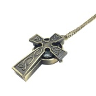 Cross Style Alloy Quartz Necklace Pocket Watch - Bronze