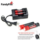 FandyFire 3.7V 2200mAh Lithium-ion Batteries Kit - Black + Red