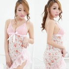 Floral Print Sexy Lace + Spandex Deep V-Neck Sleep Slip Dress + G-String Set