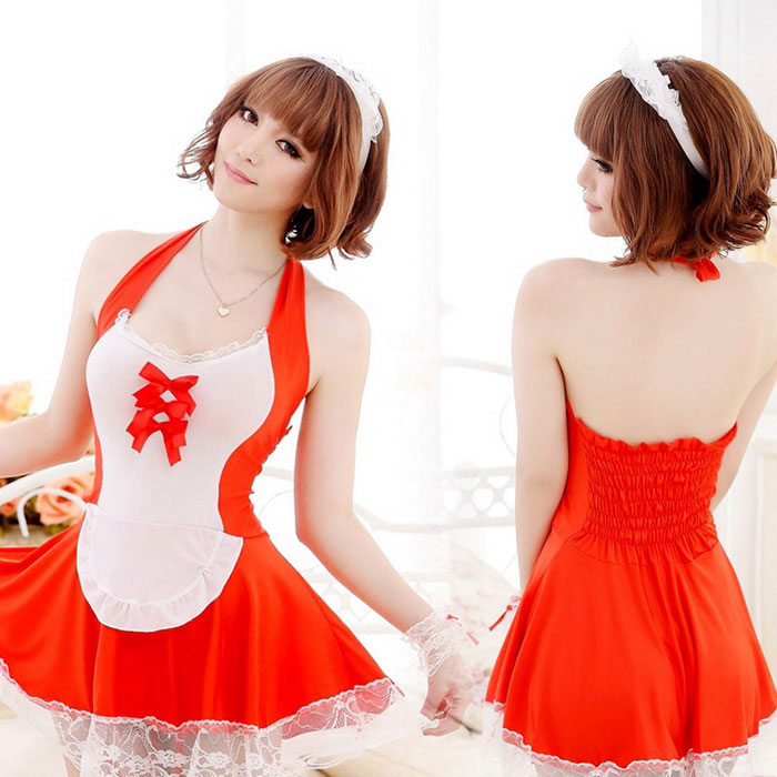 Fashionable Role Playing uniforme de empregada sexy das mulheres C405 Fanyang - Red