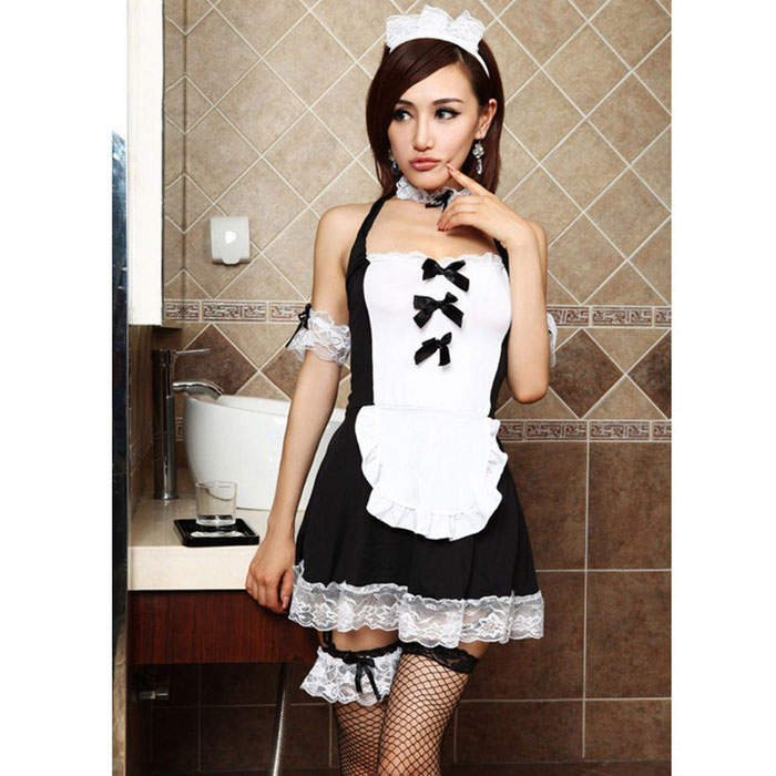 Fanyang C405 mulheres elegantes Sexy Role Playing Maid Uniform - preto