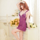 B308 Woman's Fashionable Sexy Lingerie Suit - White + Purple