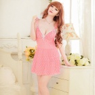 B308 Woman's Fashionable Sexy Lingerie Suit - White + Pink