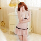 B317 Woman's Fashionable Sexy Lingerie Suspender Skirt - Apricot