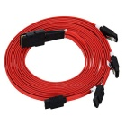 CY Internal Mini SAS 4i 36Pin SFF-8087 to 4 SATA Cable - Red (1m)