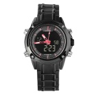 Waterproof Sports Stainless Steel Band LED Quartz Watch - Black + Red