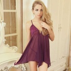 H315 Woman's Fashionable Deep V Sexy Lingerie Suit - Purple