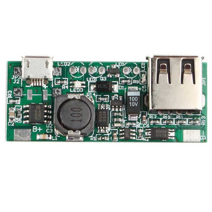 3.7V Li-ion Battery Mini USB to USB A Power Supply ModulePower Module<br>Form  ColorGreenModelN/AQuantity1 DX.PCM.Model.AttributeModel.UnitMaterialFR4Input Voltage3.7 DX.PCM.Model.AttributeModel.UnitOutput Voltage5 DX.PCM.Model.AttributeModel.UnitMax. Output Current1 DX.PCM.Model.AttributeModel.UnitPacking List1 * Power supply module<br>