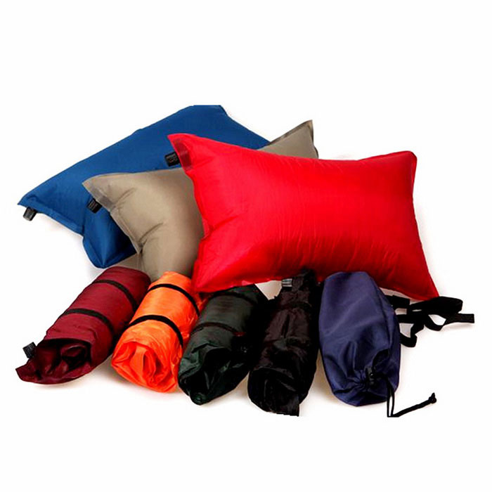 Outdoor Camping Auto Air Inflatable Cushion Pillow - Deep Blue