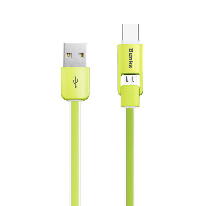 Benks Type C &amp; Micro Charging Data Cable - GreenCables<br>Form  ColorGrass GreenMaterialTPEQuantity1 DX.PCM.Model.AttributeModel.UnitCompatible ModelsAndroid deviceCable Length100 DX.PCM.Model.AttributeModel.UnitConnectorType C, Micro USBTransmission Rate480MbpsSplit adapter number2 in 1CertificationRoHSOther FeaturesL=1M, TPE Material, Noodles Design, Anti wind<br>Type C &amp; Micro 2 in 1, Support 2.1A current outputPacking List1 * Type C Cable<br>