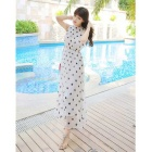 Stars Pattern Sexy Summer Halter Dress Beach Dress - Black + White (M)
