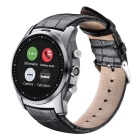"A8 Leather Smart Wristwatch w/ 1.22"" IPS, Bluetooth - Black + Silver"