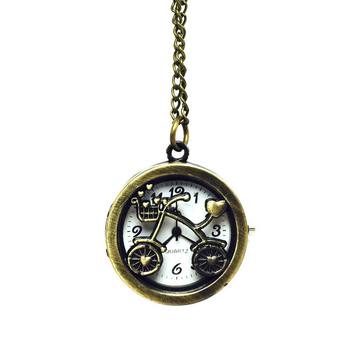 Bicycle Style Zinc Alloy Quartz Necklace Pocket Watch - Bronze