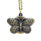 Butterfly stil Zinc Alloy Quartz Necklace Pocket Watch - Bronse