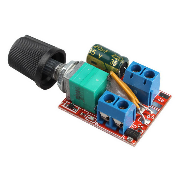 Mini dc 5a motor pwm speed controller red multicolor for Small dc motor controller