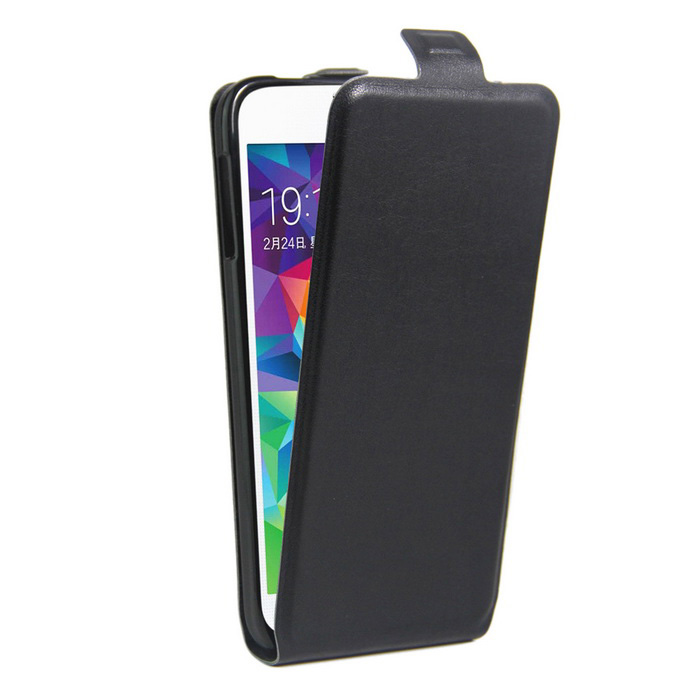 Retro Style Up-Down Flip-Open PU Case for Samsung GALAXY S5 - Black