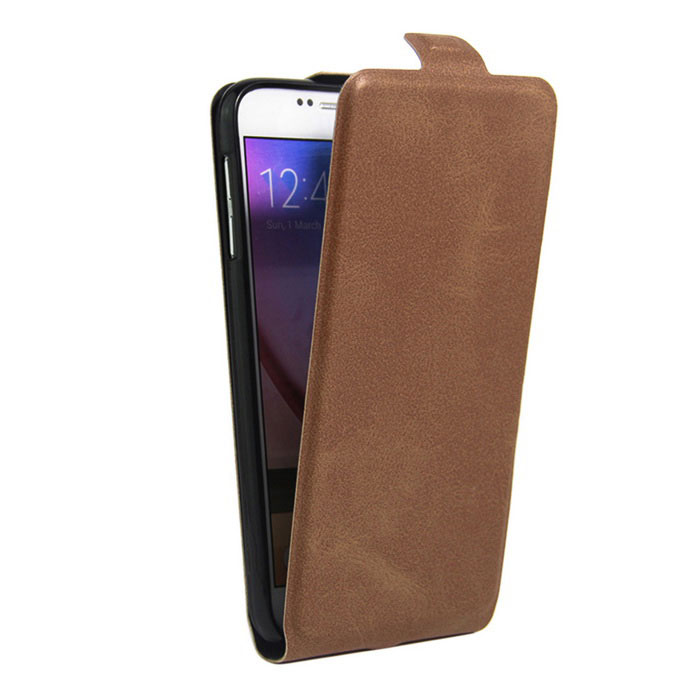 Retro Style Up-Down Flip-Open PU Case for Samsung Galaxy S6 - Brown