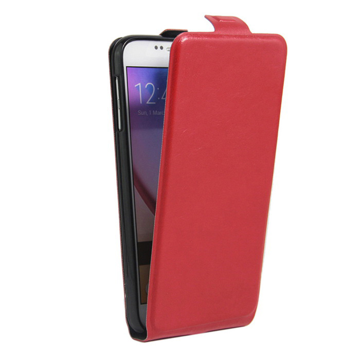 Retro Style Up-Down Flip-Open PU Case for  Samsung Galaxy S6 - Red