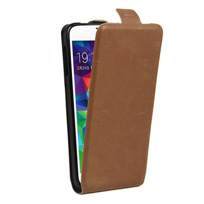 Retro Style Up-Down Flip-Open PU Case for Samsung GALAXY S5 - Brown