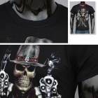 Men's 3D Skull Printing Round-Neck Sweat Absorption T-shirt - Black