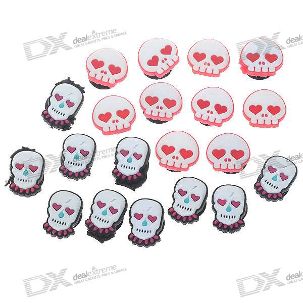 Skull with Red Eyes Jibbitz Shoes Decoration for Crocs Shoes - Style Assorted (10-Pack)