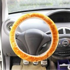 ZIQIAO Universal Elastic Plush Steering Wheel Cover - Yellow
