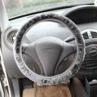 ZIQIAO Universal Elastic Plush Steering Wheel Cover - Gray