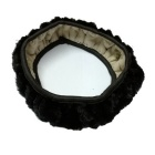 ZIQIAO Universal Elastic Plush Steering Wheel Cover - Black