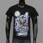 Outdoor Sports Knight On Horse Moon + Wolf Pattern Sweat Absorption Cotton T-shirt (L)