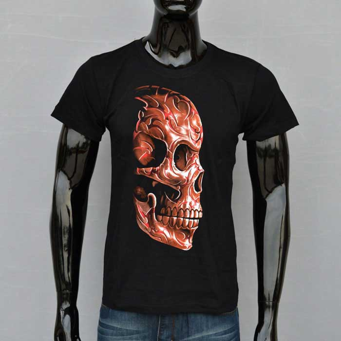 J1082 Men's 3D Skull Printing Round-Neck Short-Sleeve T-shirt - Black
