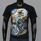 Outdoor Sports Eagle + Motorcycle Pattern Sweat Absorption Cotton T-shirt (S)