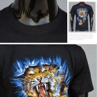 J1049 Men's 3D Tiger Printing Round-Neck Short-Sleeve T-shirt - Black
