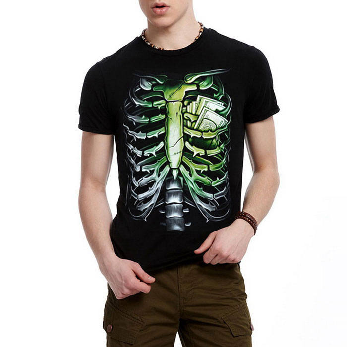 J1054 Men's 3D Rib Printing Round-Neck Short-Sleeve T-shirt - Black
