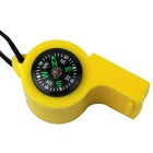 2 -in-1 Multifunction Plastic Whistle + Compass - Yellow + White