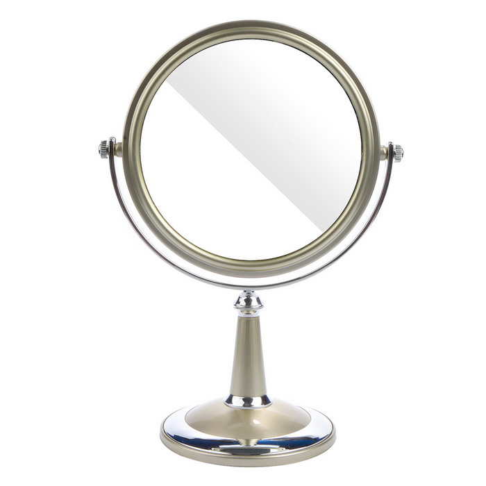 Elegant Oval Shaped Double-Sided Mirror - Silver + Champagne