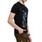 J1009 Men's 3D Printing Round-Neck T-shirt - Black (XXL)