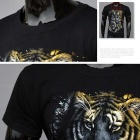 J1003 Men's 3D Tigers Printing Round-Neck Short-Sleeve T-shirt - Black