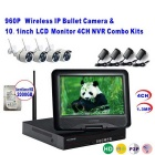 "4CH Wireless NVR Combo Kits w/ 10.1"" LCD Display - White (EU Plug)"