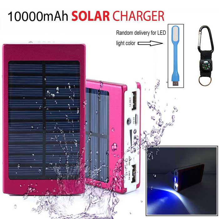 "SUNGZU ""10000mAh"" Dual USB Solar Power Bank Batería - Rojo"