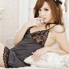 FanYang 7427 Secretary Striped Uniform Style Sexy Lingerie Suit -Black