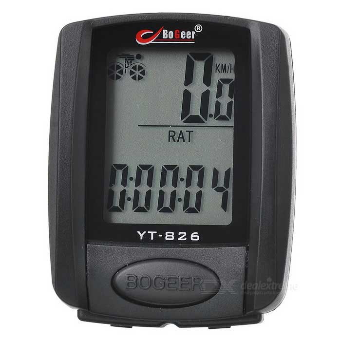 BOGEER YT-826 Waterproof Bicycle Speed Meter - Black