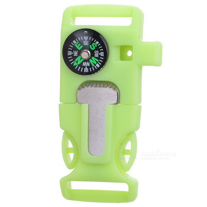 Outdoor Multifunctional Light-in-the-dark Whistle - Fluorescent Green
