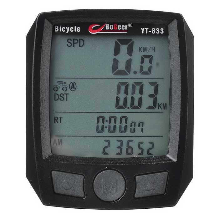 BOGEER YT-833B Waterproof Bicycle Speed Meter - BlackBike Computer<br>Form  ColorBlackModelYT-833BQuantity1 DX.PCM.Model.AttributeModel.UnitMaterialABSScreen Size1.7 DX.PCM.Model.AttributeModel.UnitBattery TypeCR2032 batteryBattery Number1Battery included or notYesWaterproofYesBacklightWhiteCable Length95 DX.PCM.Model.AttributeModel.UnitCertificationCEPacking List1 * Stopwatch1 * Magnetic (130.5±2cm)1 * Accessory1 * Foam7 * Cable ties1 * Chinese / English user manual<br>